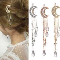 Moon Crystal Rhinestone Beads Dangle Hair Clip Hairpin Bridal Women Jewelry Gift