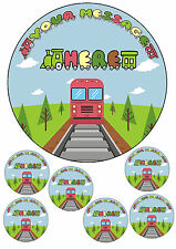 "Children's Train personalised cake topper 7.5"" round&6 x toppers A4 icing sheet"