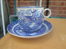 VINTAGE WILLOW BLUE & WHITE LARGE BREAKFAST CUP AND SAUCER  BURLEIGH WARE