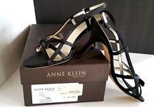 ANNE KLEIN Rebecka Sandal Black Satin Strappy Shoe Sz 7 Open Toe Heels