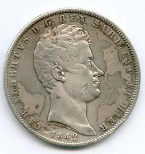 TOP RARE MONNAIE DE 5 LIRES ARGENT DE SARDAIGNE ITALIE ITALY 1842 GENES !!!