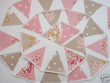 TAUPE & PINK VINTAGE STYLE FLORAL AND SPOT FABRIC MINI BUNTING 4M, 13FT NEW