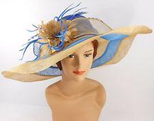 Church Kentucky Derby Wedding Party Sinamay Wide Brim Dress Hat 3033 Royal Blue