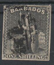 BARBADOS 1858 BRITANNIA 1/- IMPERF NO WMK USED