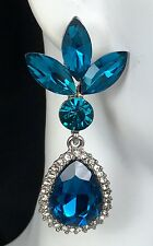 """Fabulous! 2.2"""" Blue Crystal Drop Earrings, Drag Queen, Prom, Bridal, Pageant"""