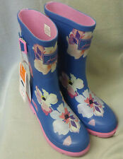 Joules Junior Welly Print Blue Large Floral Wellingtons Wellies Girls Child Sz 3