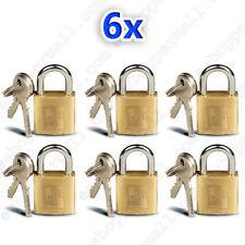 6 Small Metal Padlocks Mini Brass Tiny Box Locks Keyed Jewelry 2 Keys 20mm New !