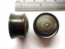 Dark Brown Wood Filigree Flower Double Flare Ear Lobe Jewelry Plugs 3/4 inch