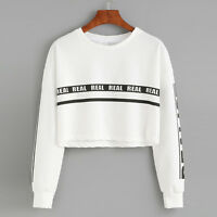 Fashion Women Sweatshirt White Letter Print Long Sleeve Autumn Crop Tops Blouse