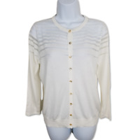 August Silk Blouse Buttoned Knit Cardigan Sheer Striped Long Sleeve Top Size M