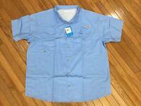 NWT COLUMBIA PFG Men's Blue Bonehead Button Up Vented Shirt Fishing Sz 2XL