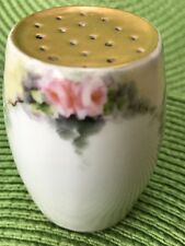 "Limoges Salt or Pepper Shaker Hand Painted Pink Roses,Gold top 2-1/2"" tall  (G)"