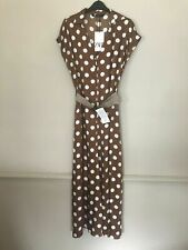 BNWT ZARA BROWN POLKA DOT JUMPSUIT WITH BELT SIZE S