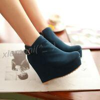 Women Plaeform Wedge Side Zip Buckle Ankle Boots Round Toe Faux Suede Shoes Chic