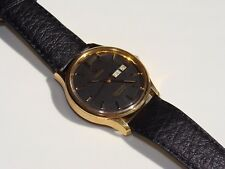 Vintage Omega Seamaster Quartz 1345 Mens Black Dial Watch Swiss 1342 Day Date