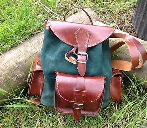 Vintage BROWN LEATHER / SUEDE BACK PACK / RUCK SACK Green Retro Back Pack New