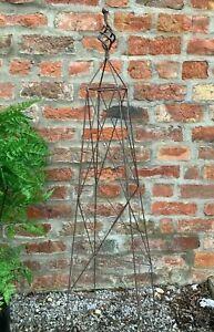 Steeple Metal Garden Obelisk Plant Support Frame 120cm Rust Effect