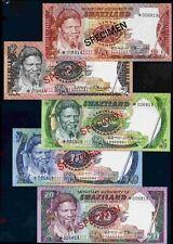 Swaziland,matching no specimen set, five notes, *006819, 1978. (D