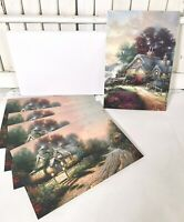 1997~ 5 Thomas Kinkade Greeting Cards Tea Cup Cottage & A New Day Dawning NEW