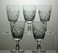 LEAD CRYSTAL CUT GLASS SHERRY PORT GLASSES SET OF 5