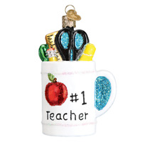 Old World Christmas BEST TEACHER MUG (32318)X  Glass Ornament w/OWC Box