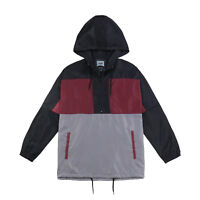 Men's Zip Pullover Hooded Lightweight Windbreaker Streetwear Jacket Grey Oxblood