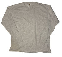 Vintage 90s Single Stitch Blank Fruit Of The Loom Long Sleeve Shirt XL Gray