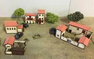 Set of 5  x 15mm Spanish/Italian PREPAINTED BUILDING KITS Set A