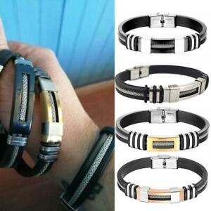 Striped Magnetic Masculinity Leather Bracelet