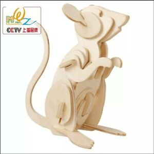 3d Wooden Puzzle Mouse Model Gift Educational Construction Toy Christmas