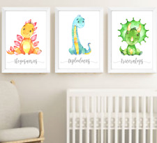 Dinosaur Animals Nursery Prints Set Of 3, Baby Room Pictures Wall Art Decor