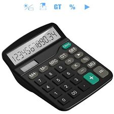 Black Dual Power Ideal Student Home Business Office Workers Desk Top Calculator