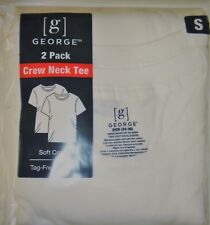 George White Crew Neck T-Shirts SMALL 2-Pack QTY 10 T-Shirts