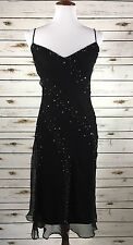 BCBG Max Azria Sz 4 Black 100% Silk Embellished Beaded Dress NWT Cocktail Formal