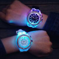 Fashion Backlight Crystal Quartz Wrist Watch Women Sport Waterproof Geneva LED