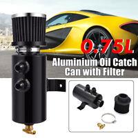 🔥Black Aluminium Baffled Engine Oil Catch Can 2x AN10 Twin Port Breather  🔥 Y