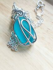 Wire Wrapped turquoise Sea Glass Pendant necklace