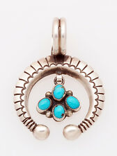 Navajo Sterling Silver with Lone Mtn. Turquoise Naja Pendant by Calvin Martinez