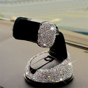1Pcs Car Phone Holder Dashboard Stand Crystal Bling Girls Interior Accessories