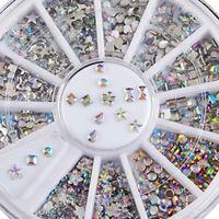6 Syle 3D Acrylic Nail Art Tips DIY Decoration Glitter Rhinestones Crystal Wheel
