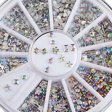 6 Styles Nail Art Tips Decoration 3D Acrylic Glitter Rhinestones DIY Wheel