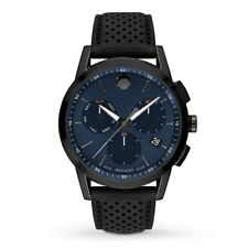 New Movado Museum Sport Chronograph Blue Dial Leather Strap Men's Watch 0607360