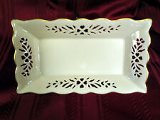 Lenox Ivory China Floral Cutout Design Candy Dish Gold Trim Scalloped Edge