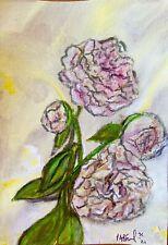 Goodbye Peonies by Minimalist artist Small Impressionist Painting Ooak