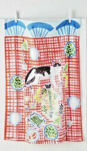 NWT Anthropologie Bright Limelight Studio Kitten Picnic Dish Towel