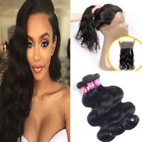 360 Lace Closure with Body Wave Brazilian Virgin Human Hair Weft 3 Bundles 300g