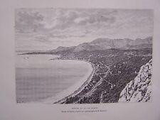 H189- gravure sur bois MENTON ET LE CAP MARTIN - 1885