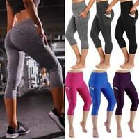 Women 3/4 Yoga Pants Capri Leggings Gym Fitness Workout Pockets Sports Trousers