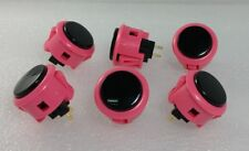 Japan Sanwa Push Buttons Pink Black x 6 pcs Video Game Arcade Parts OBSF-30