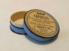 Vintage Pill Box, Grip Capsules W/ 5/8 Cent Stamp On Back